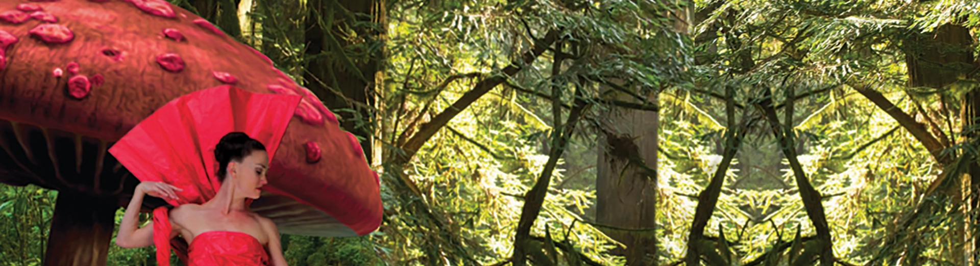 A member of MOMIX in a red dress standing in a forest.