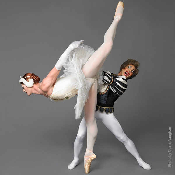 """Two dancers from the """"Trocks"""" in a humorous pose."""