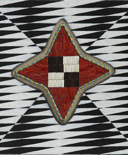 Artwork displaying the use of materials in a fine weave in a star shape over a black and white pattern.