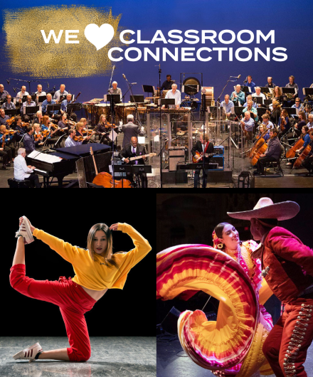 Composite of Ballet Folklorico, Versa-Style Dance, and Symphonic Jazz Orchestra with the words We Love Classroom Connections