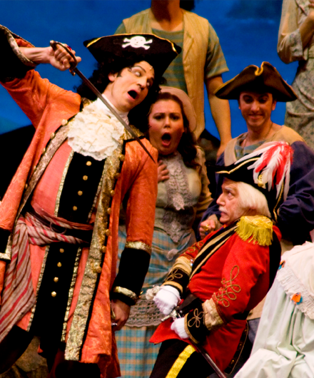 NY Gilbert & Sullivan Players on stage in a performance of The Pirates of Penzance