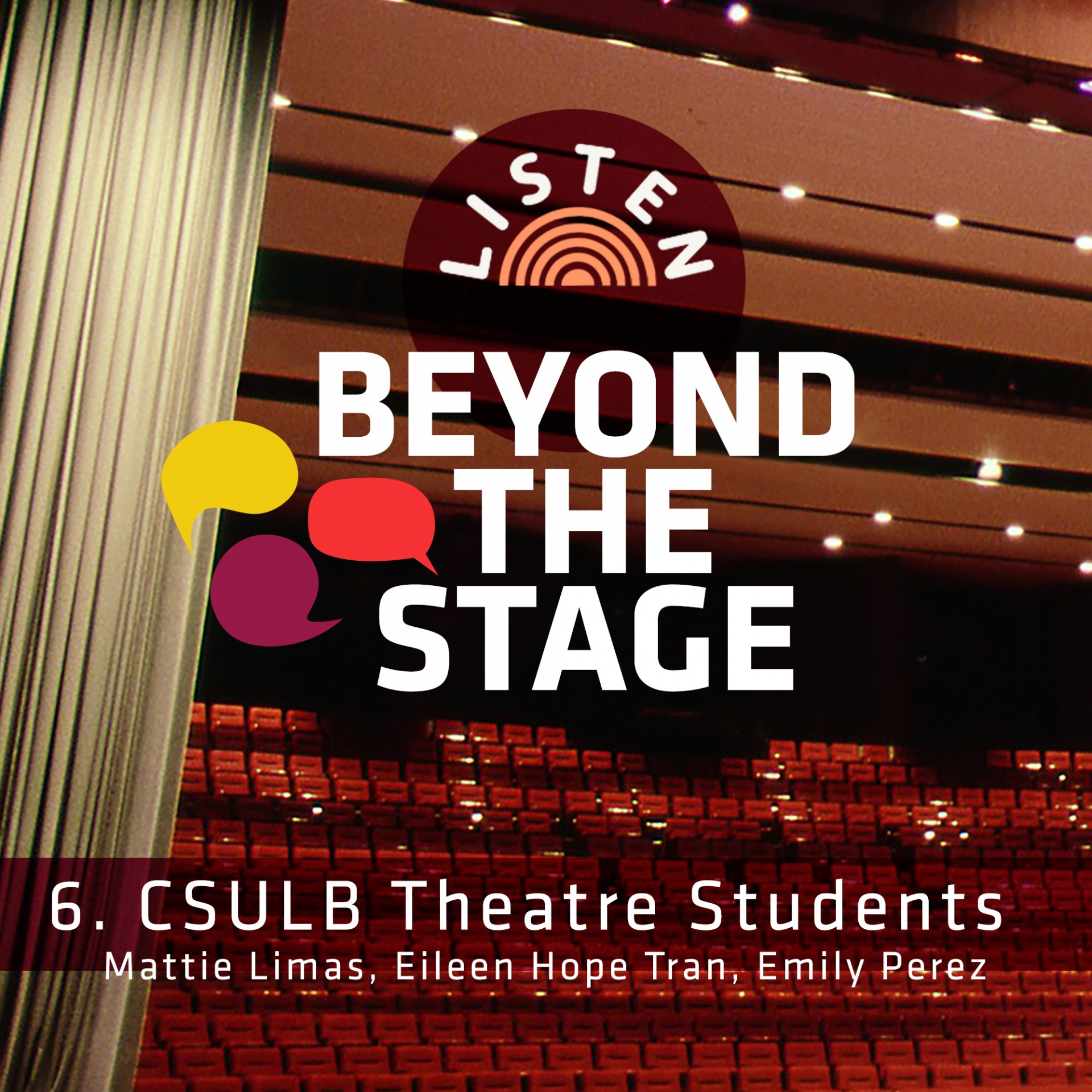 Interior of the Carpenter Center with Beyond the Stage as the headline