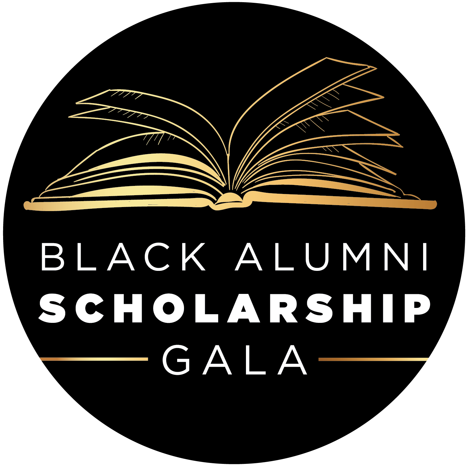 Logo for the Black Alumni Scholarship Gala showing a stylized open book