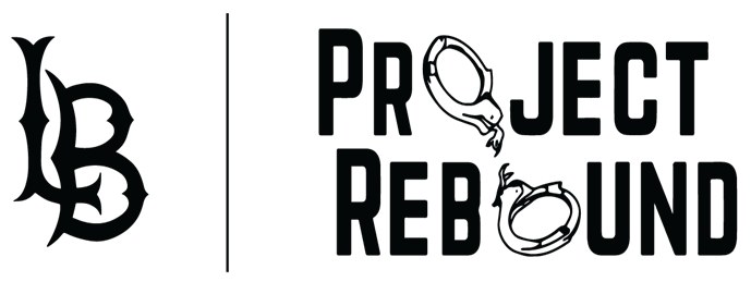 Project Rebound logo with the letter O in the words depicted as handcuffs that have broken free