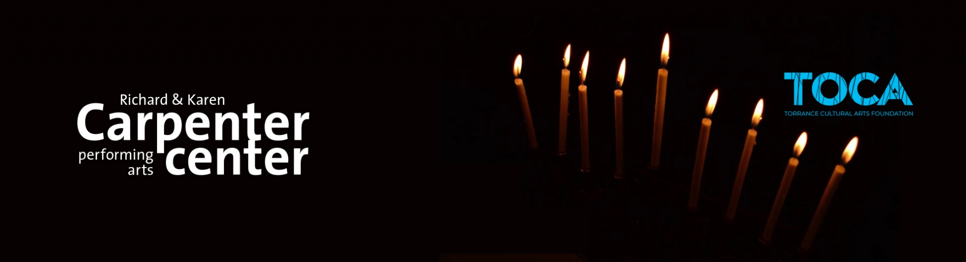 The Carpenter Center logo on the left with the lit candles of a Manorah on the right