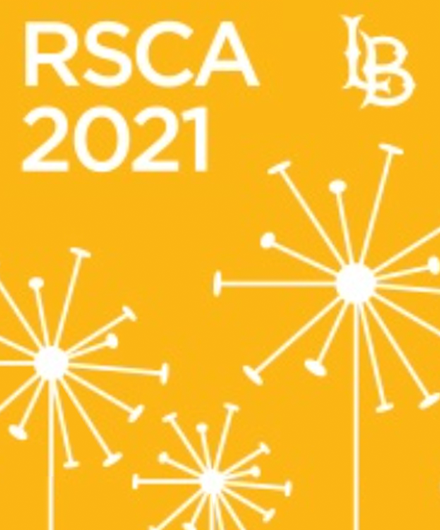 RSCA logo featuring a gold background and silhouettes of sculptures on campus