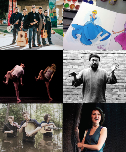 Composite image of artists practicing their crafts, including musicians, dancers, and illustrations