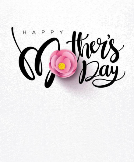 Happy Mother's Day with an image of a flower