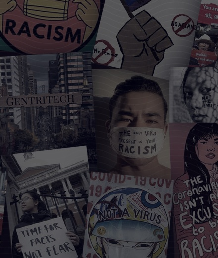 composite image of anti-racist protest signs
