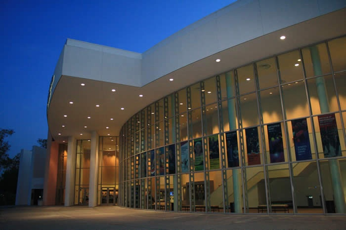 Carpenter Center exterior at night