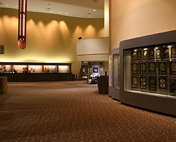 Carpenter Center lobby, showing the Carpenters exhibit space.